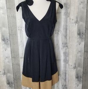 L'Agence Size 6 Black & Tan Knot Strap Dress